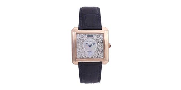 Dámske luxusné analogové hodinky s modrým koženým remienkom Lancaster