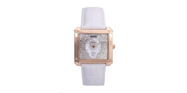 Dámske luxusné pozlátené hodinky s bielym koženým remienkom Lancaster