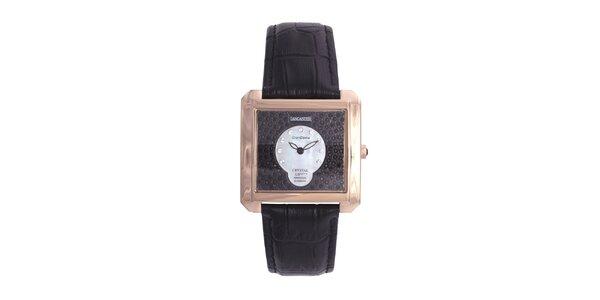 Dámske luxusné pozlátené hodinky s čiernym koženým remienkom Lancaster