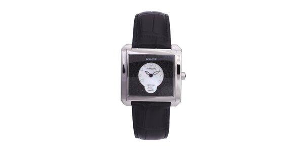 Dámske strieborné oceľové hodinky s čiernym koženým remienkom Lancaster
