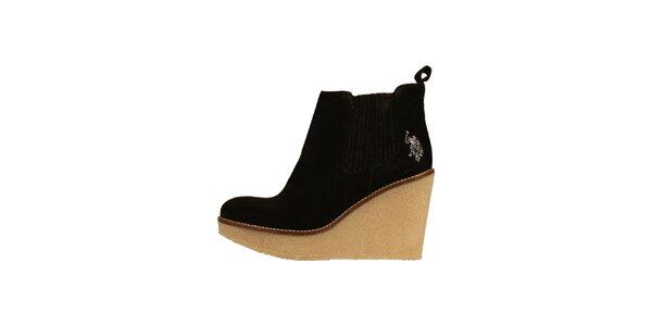 Dámske čierne semišové topánky U. S. Polo