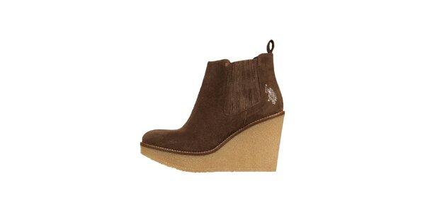 Dámske hnedé semišové topánky U.S. Polo
