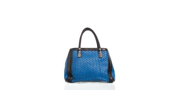 Dámské žiarivo modrá kabelka Moow s ozdobným prepletaním