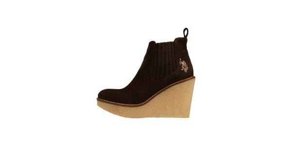 Dámske tmavo hnedé semišové topánky U.S. Polo