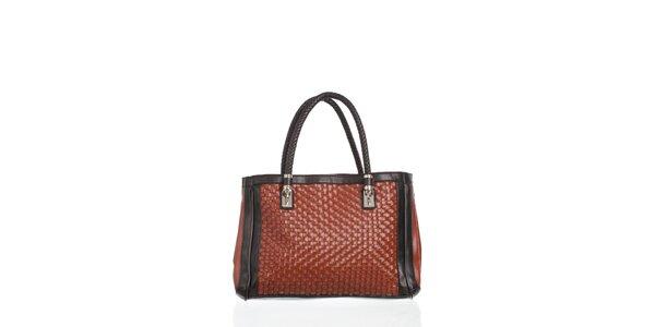 Dámské hnedá kabelka Moow s ozdobným prepletaním