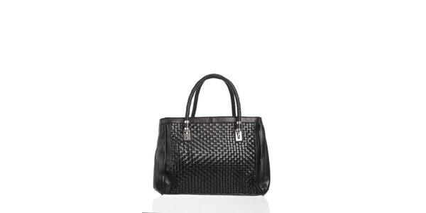 Dámské čierna kabelka Moow s ozdobným prepletaním