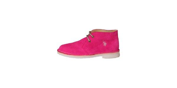 Dámske fuchsiovo ružové šnurovacie topánky U.S. Polo