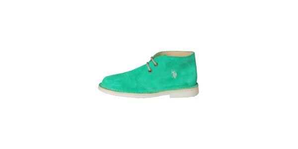 Dámske mätovo zelené šnurovacie topánky U.S. Polo
