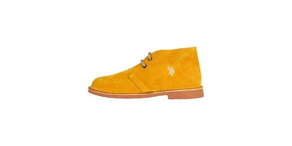 Dámske tmavo žlté šnurovacie topánky U.S. Polo
