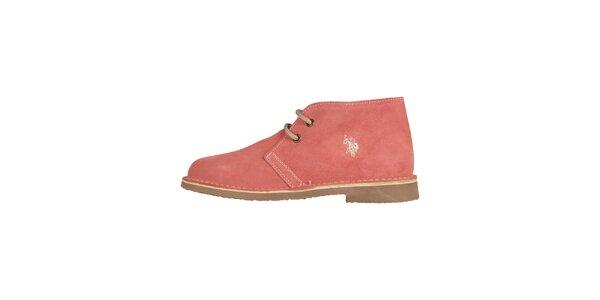 Dámske broskyňovo ružové šnurovacie topánky U.S. Polo