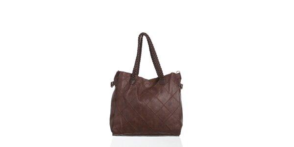 Dámska tmavo hnedá kabelka Moow s ozdobným prešívaním