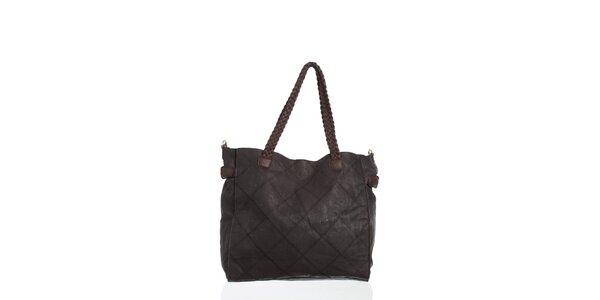 Dámska čierna kabelka Moow s ozdobným prešívaním