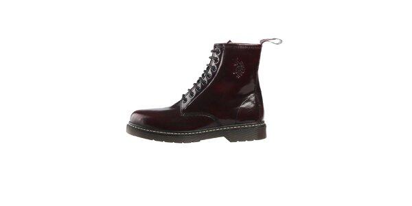Pánske tmavo červené lakované šnurovacie topánky U.S. Polo