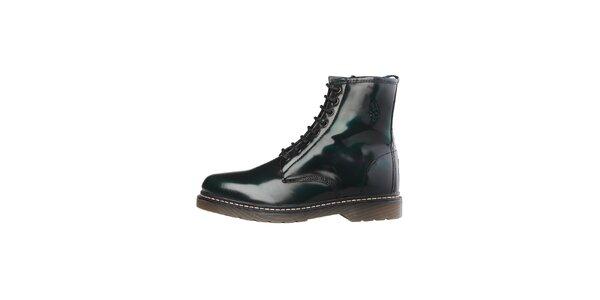Pánske tmavo zelené lakované šnurovacie topánky U.S. Polo