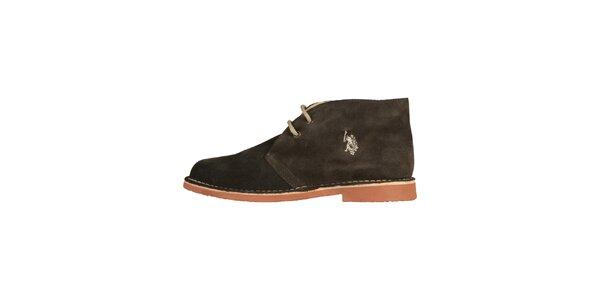 Pánske hnedo-čierne členkové semišové topánky U.S. Polo