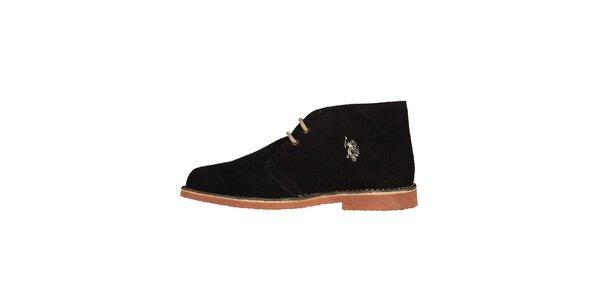 Pánske tmavé členkové semišové topánky U.S. Polo