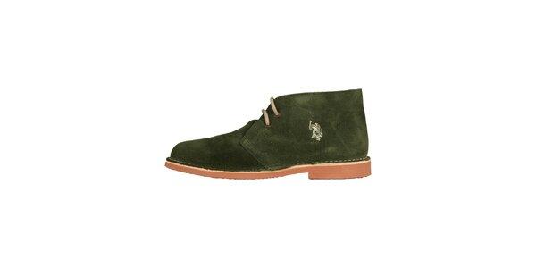 Pánske trávovo zelené členkové semišové topánky U.S. Polo