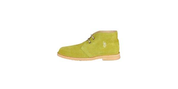 Pánske limetkovo zelené členkové semišové topánky U.S. Polo