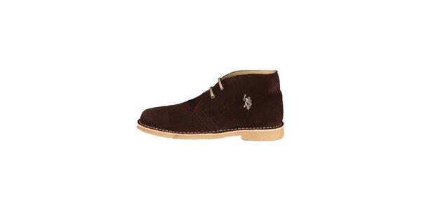 Pánske tmavo hnedé členkové semišové topánky U.S. Polo