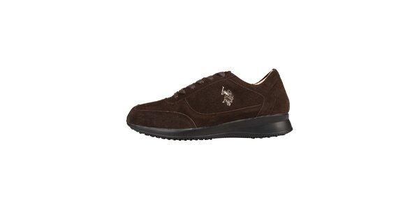 Pánske tmavo hnedé semišové šnurovacie topánky U.S. Polo