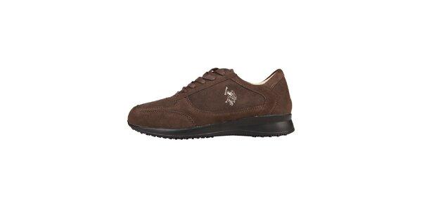 Pánske hnedé semišové šnurovacie topánky U.S. Polo