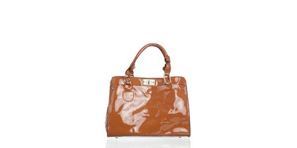 Dámska béžová lakovaná kabelka Moow