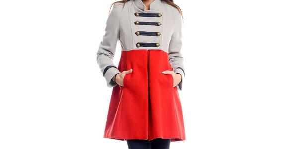 Dámsky šedo-červený vojenský kabát Simonette