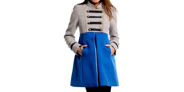 Dámsky šedo-modrý vojenský kabát Simonette