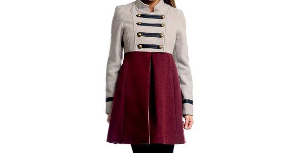 Dámsky šedo-vínový vojenský kabát Simonette