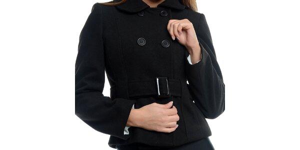 Dámsky krátky čierny kabátik s prackou Estella