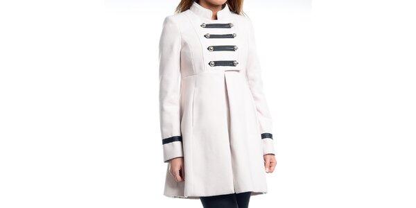 Dámsky biely kabát s vojenskými prvkami Simonette