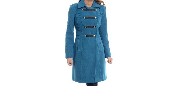 Dámsky tyrkysovo modrý kabát s vojenským zapínaním Estella