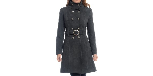 Dámsky šedý dvojradový kabát Oriana