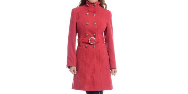 Dámsky červený dvojradový kabát Oriana
