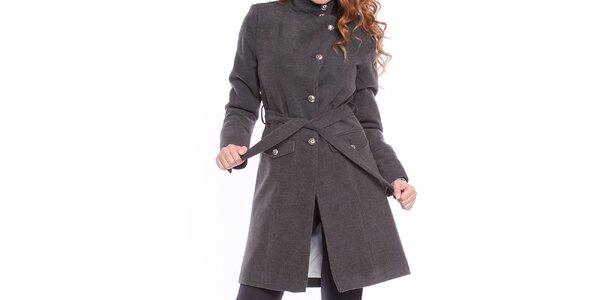 Dámsky šedý kabát s opaskom Bella