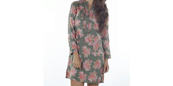 Dámske zelené šaty s kvetinovou potlačou Wanda