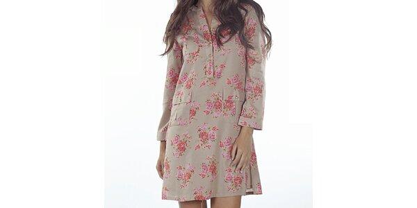 Dámske béžové šaty s kvetinovou potlačou Wanda