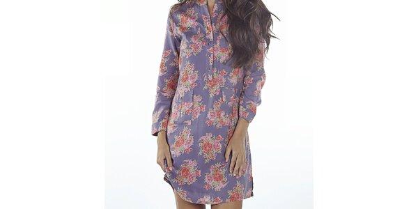 Dámske fialové šaty s kvetinovou potlačou Wanda