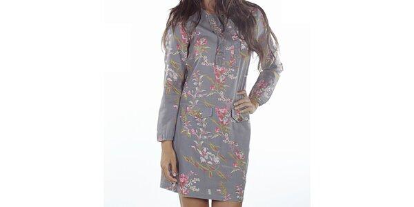 Dámske šedé šaty s kvetinovou potlačou