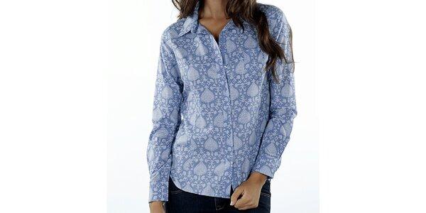 Dámska modrá košeľa s orientálnou potlačou Wanda