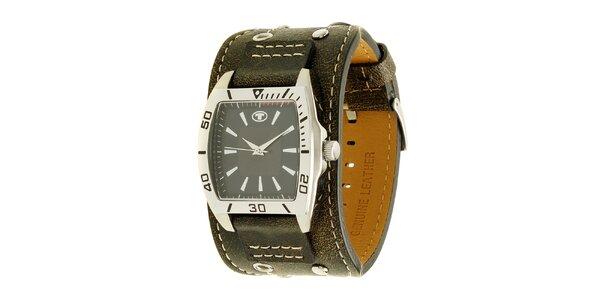 Hnedé náramkové retro hodinky s analogovým ciferníkom Tom Tailor