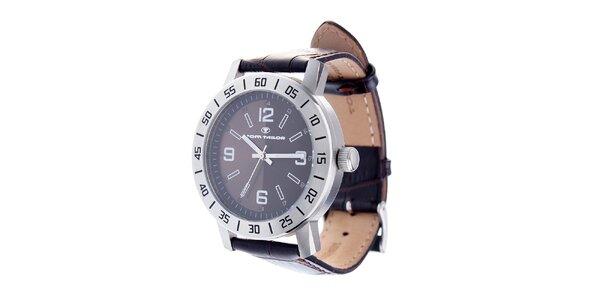 Oceľové hodinky Tom Tailor s tmavo hnedým koženým remienkom