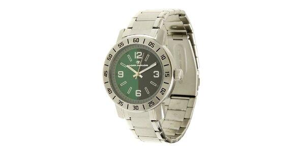 Oceľové analogové unisexové hodinky so zeleným ciferníkom Tom Tailor