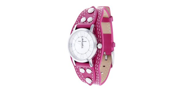 Dámske oceľové hodinky Tom Tailor s ružovým koženým remienkom