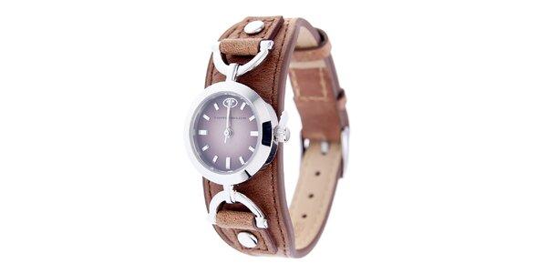 Dámske hodinky Tom Tailor s hnedým koženým remienkom