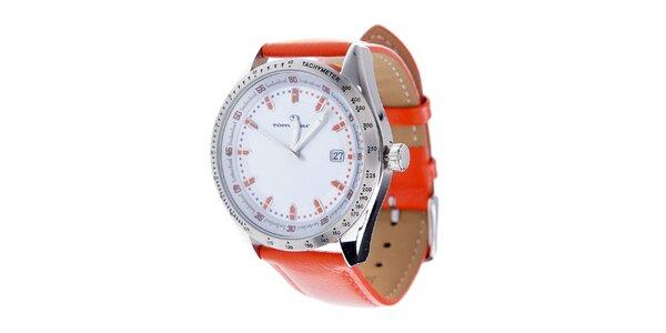 Štýlové oceľové hodinky Tom Tailor s oranžovým koženým remienkom