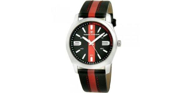 Pánske čierno-červené analogové hodinky Tom Tailor
