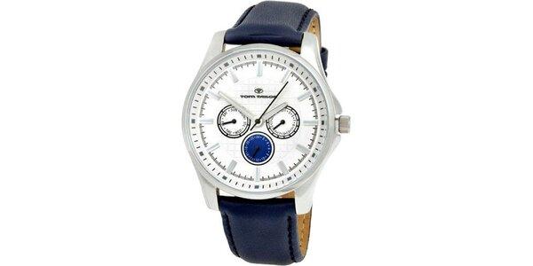 Pánske modro-biele analogové hodinky Tom Tailor