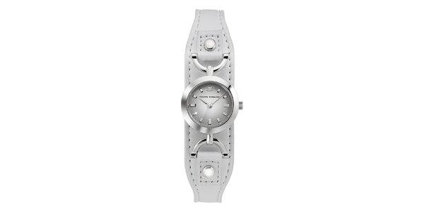 Dámske oceľové hodinky Tom Tailor s bielym kožený remienkom