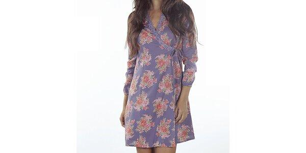 Dámske fialové zavinovacie šaty s potlačou Wanda